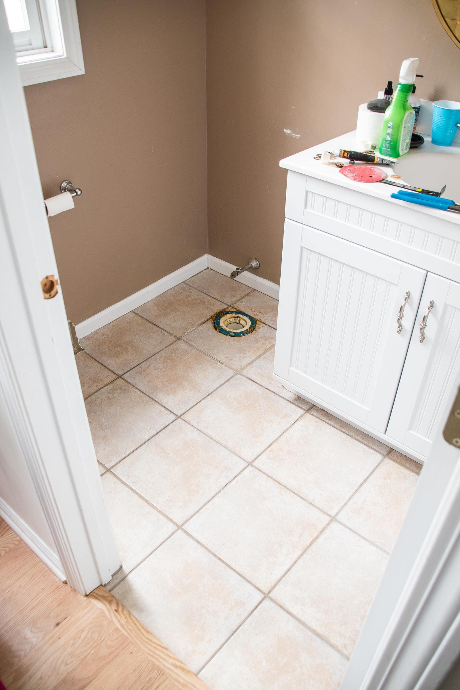 applying self adhesive vinyl tiles to