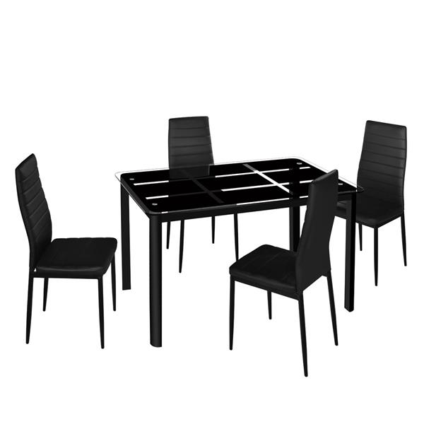 Rectangle Tempered Glass Dining Table with Nine Block Box Pattern Black