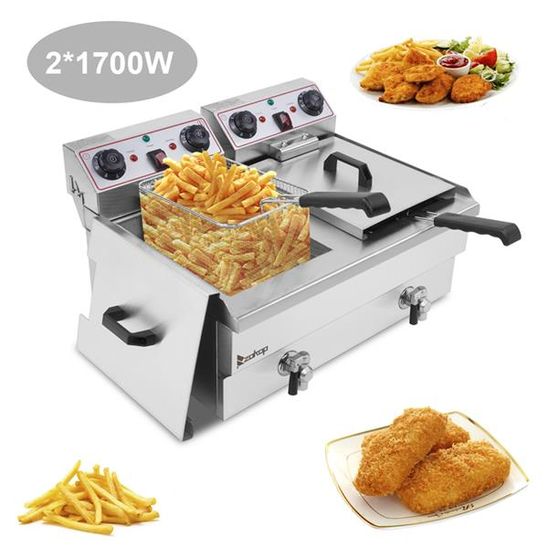 ZOKOP EH102V 16.9QT / 16L Total Capacity 24.9QT/23.6L Stainless Steel Faucet Double Tank Deep Fryer 3400W MAX (8L 8L Big Blue/Large Handle)