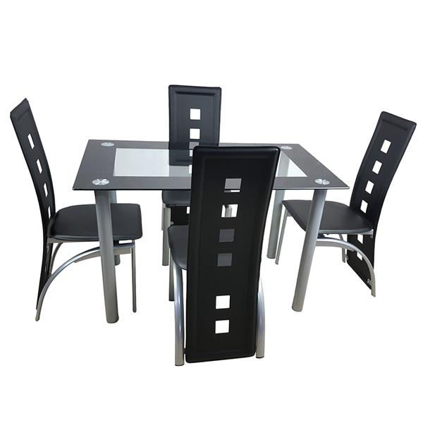 110cm Dining Table Set Tempered Glass Dining Table with 4pcs Chairs Transparent & Black