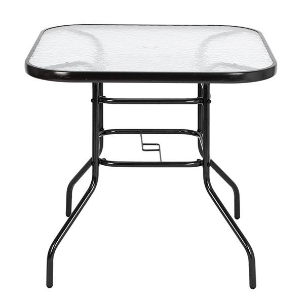 Outdoor Dining Table Square Toughened Glass Table Yard Garden Glass Table
