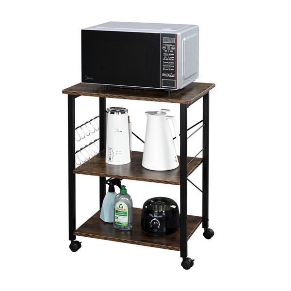 Baker's Rack 3-Tier Kitchen Utility Microwave Oven Stand Storage Cart Workstation Shelf(Vintage Board Top Black Metal Frame)