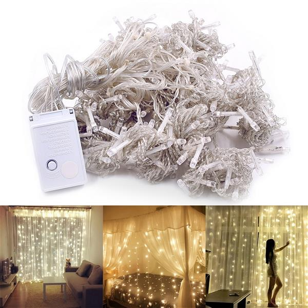 3M x 3M 300-LED Warm White Light Romantic Christmas Wedding Outdoor Decoration Curtain String Light