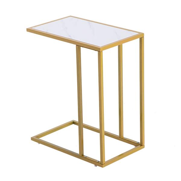 Marble Simple C-Side Table [30x48x61cm] White