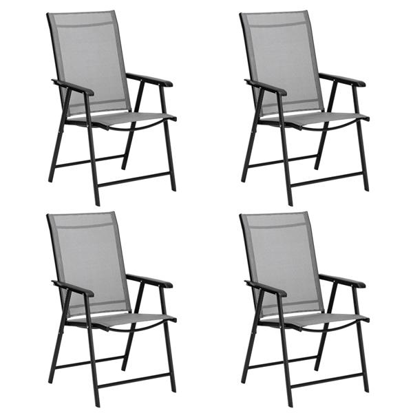 4pcs Outdoor Teslin Folding Chair Gray