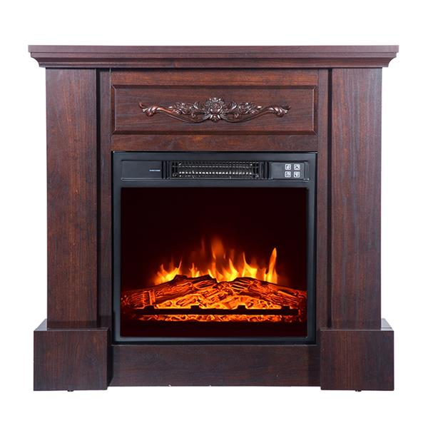 Wood Brown Fireplace Cabinet 1400W Single Color / Fake Firewood / Heating Wire / With Small Remote Control Movement Black