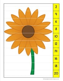 Skip Counting Puzzle- Flowers