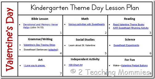 Valentine Theme Day Lesson Plans