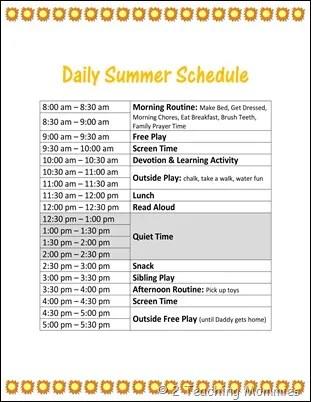 Summer Schedule1