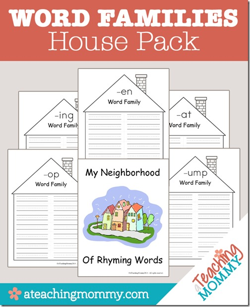 image relating to Word Families Printable known as Free of charge Printable: Term People Dwelling Pack