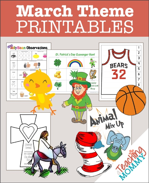 Don't miss this collection of FREE March Themed Printables. You'll find St Patrick's Day, March Madness, Dr. Seuss & more educational theme packs.