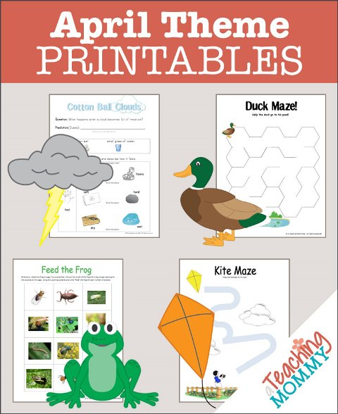 Don't miss this collection of FREE April Themed Printables. You'll find Spring Weather, Kites, Ponds & more educational theme packs.
