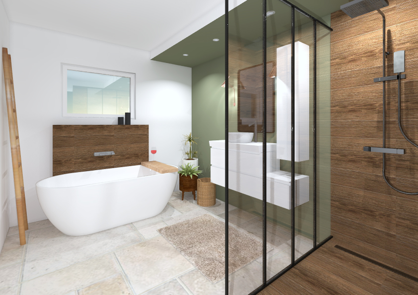 salle de bain travertin bois