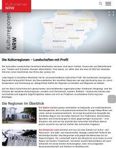 Der Kulturserver NRW vertritt alle Regionen in NRW