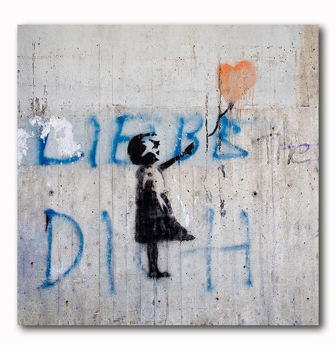Banksy Style Graffiti - Mädchen mit Love Ballon