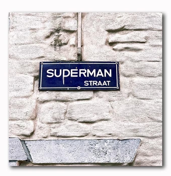Superman Strasse Bild auf Holz