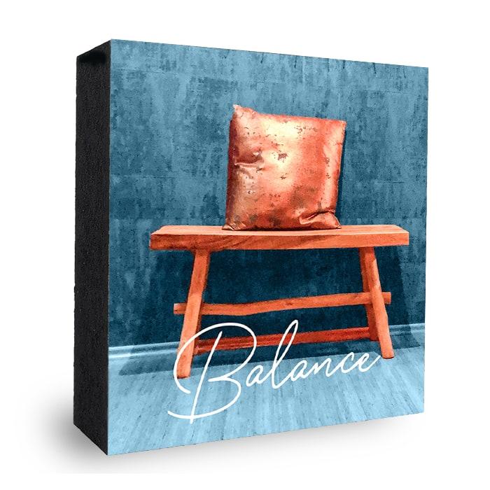 Balance Bank Bild auf Holz