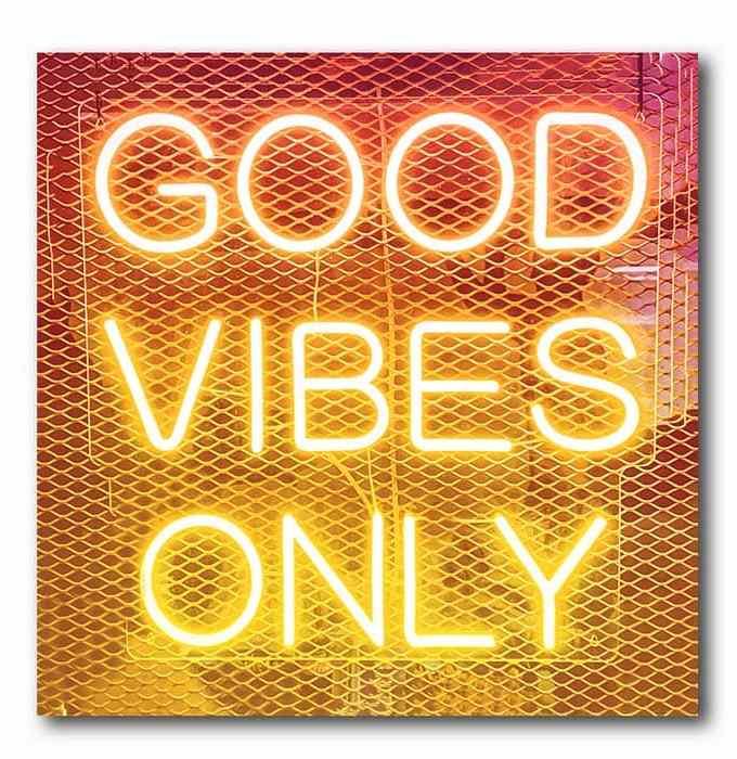 Good Vibes Only - Neonschrift - Orange-gelb