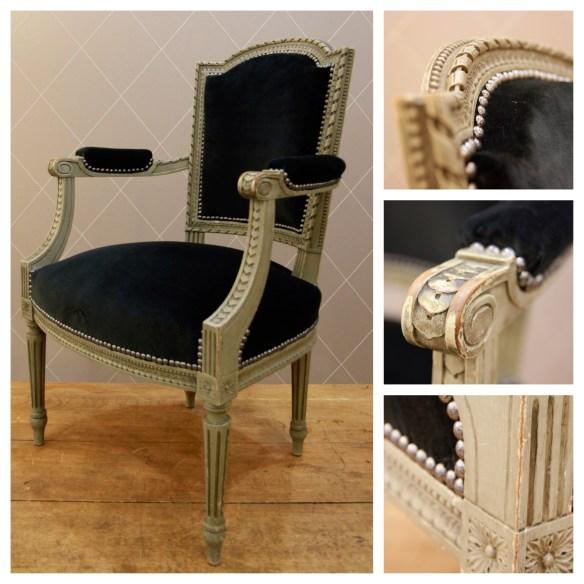 Fauteuil Louis XVI velours noir - Atelier MD2