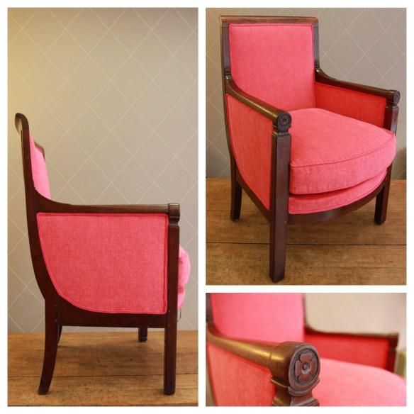 Fauteuil Empire en rose pastèque lumineux - Atelier MD2