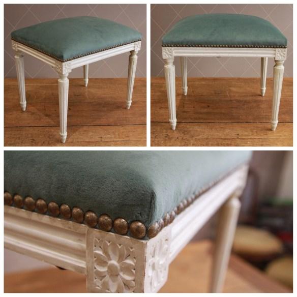 Tabouret style Louis XVI en velours Jade - Atelier MD2
