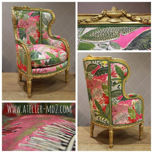 Bergère à oreilles Napoléon III très colorée avec le tissu Jungle Rose de Lalie Design
