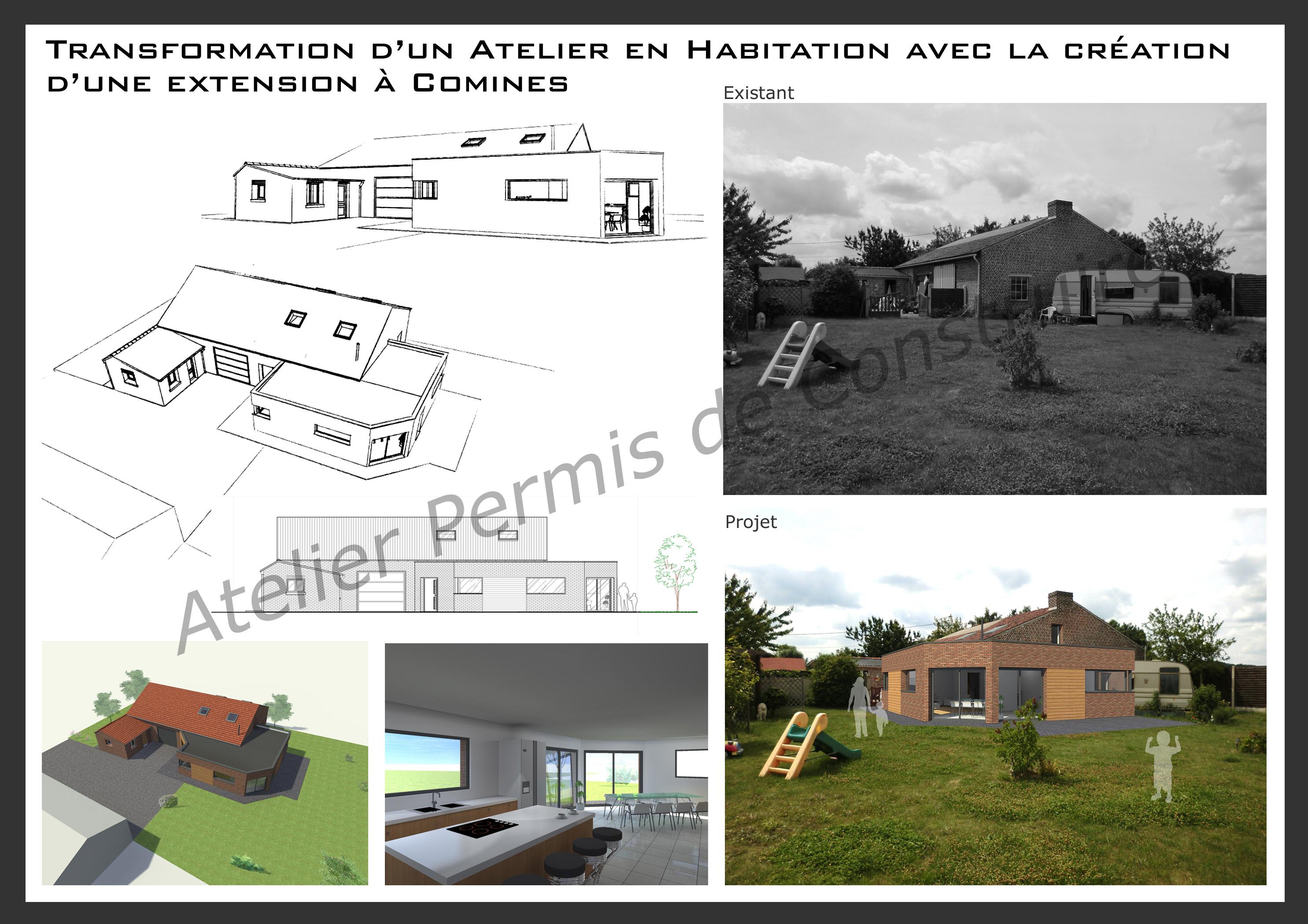 Transformation d 39 un atelier en habitation avec la cr ation - Transformation grange en habitation permis de construire ...