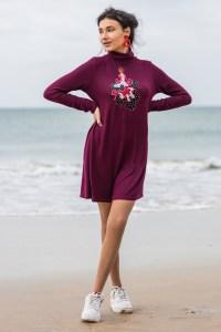 Vestido flamenca Atelier Rima burdeos 1