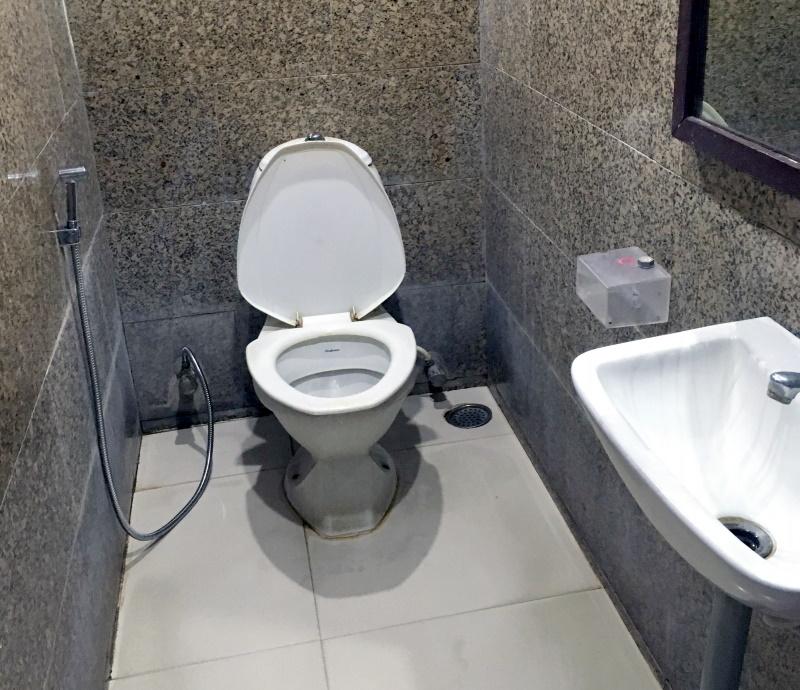 洋式トイレですがトイレットペーパーがないため、シャワーを使う。このころはマスターしていたので問題なし。
