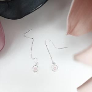 Boucles d'oreilles, Funambule, fil, calcédoine rose1