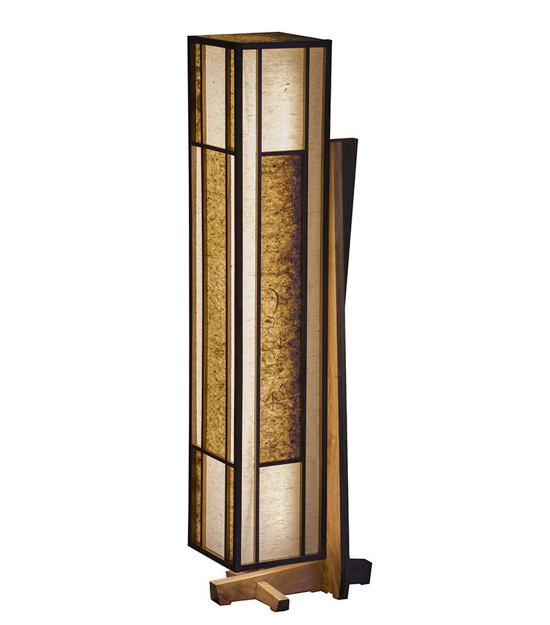 Lampe Shôji 障子 - Noyer et papiers washi, par l'Atelier Villard.