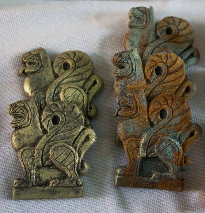 sfingi finto oro e bronzo