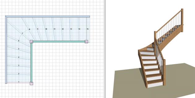 Logiciel Calcul Escalier Simulateur Escalier Quart Tournant