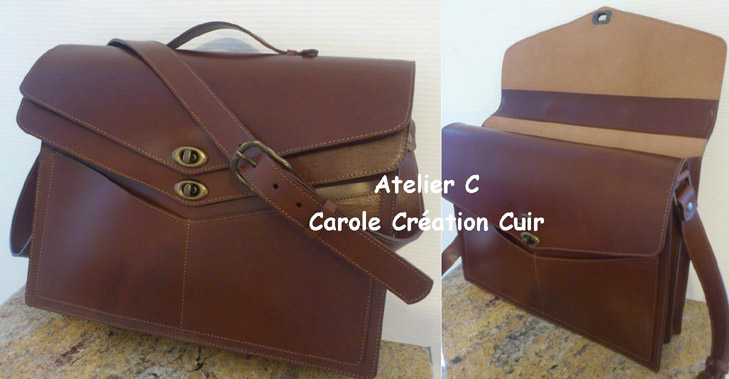 cartable cuir sur-mesure double compartiment