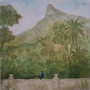 """Da janela vejo o Corcovado"" (.80x.80) - Técnica Mista"