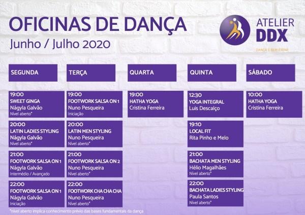 Horários Oficinas de Dança 2020