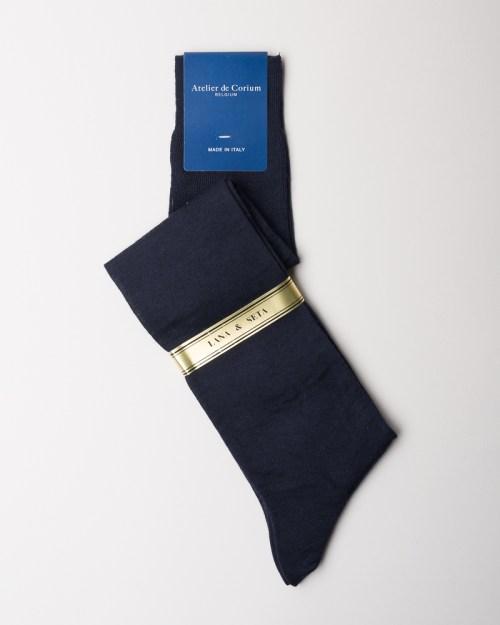 Navy Hand-linked Merino and Silk Socks