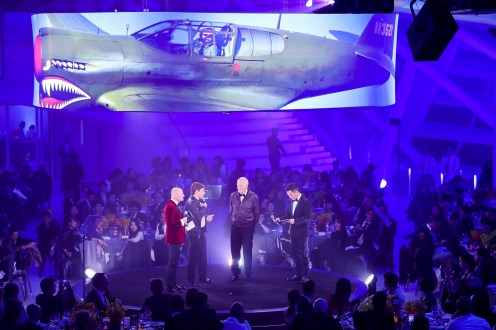 November 20th Breitling Gala Night Beijing Gala Dinner. Breitling. Breitling CEO Georges Kern and Taylor Stevensen and Ollie Crawford on Stage (PPR/Breitling)