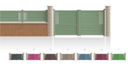 Modèle PasteurPortail haut 1/4 ajouré côté gond, bas 1/3 plein traverse verticale de forme symétrique traverse horizontale droit • Barreaudage horizontal ou vertical • Remplissage design horizontal ou vertical