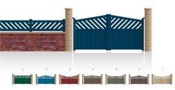 Modèle FriedlandPortail 1/3 ajouré 2/3 bas plein traverse centrale droite • Barreaudage horizontal ou vertical • Barreaudage à 45° en option • Remplissage horizontal ou vertical • Remplissage à 45° en option