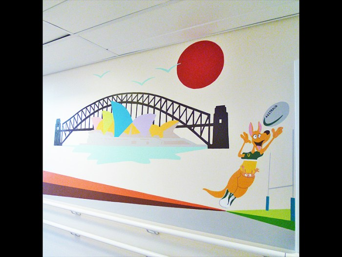 FRESQUE-kangourou-australie-elephant-fleur-lotus-yoga-enfant-toulouse-hopital-décoration-8