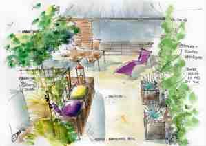 aquarelle jardin privé Vendée atelier drin