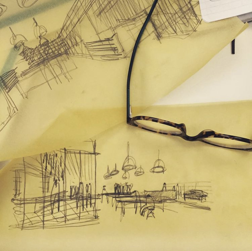 Architectural sketch on trace paper