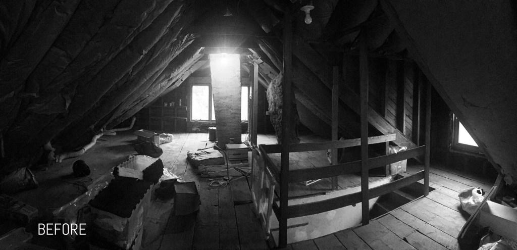 Attic renovation before photo
