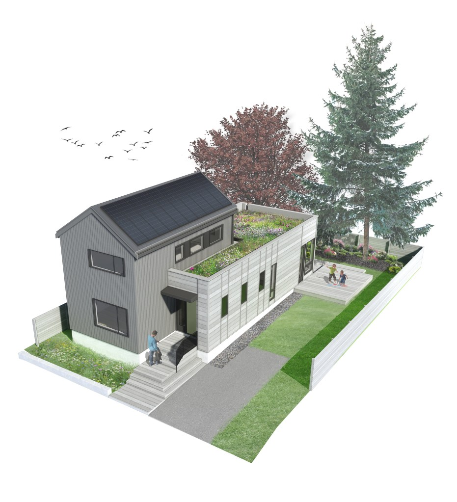 Compact modern house concept rendering