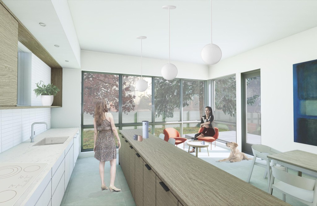 Compact modern house interior concept rendering