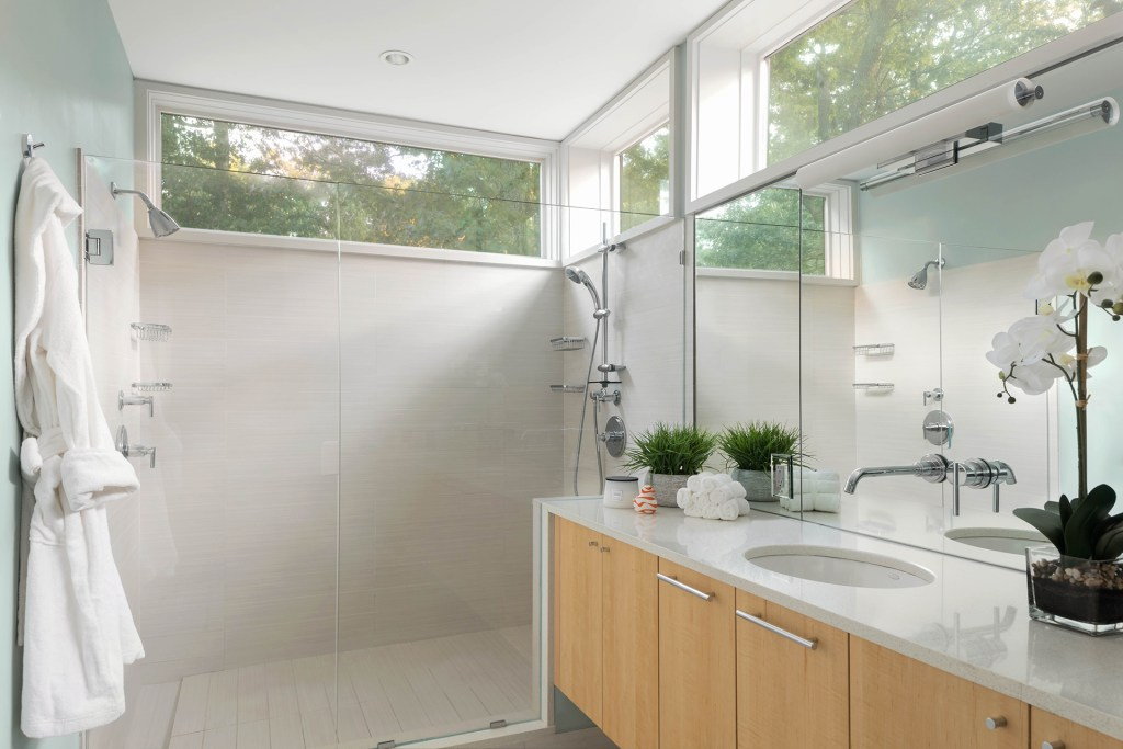 Modern bathroom design dual shower