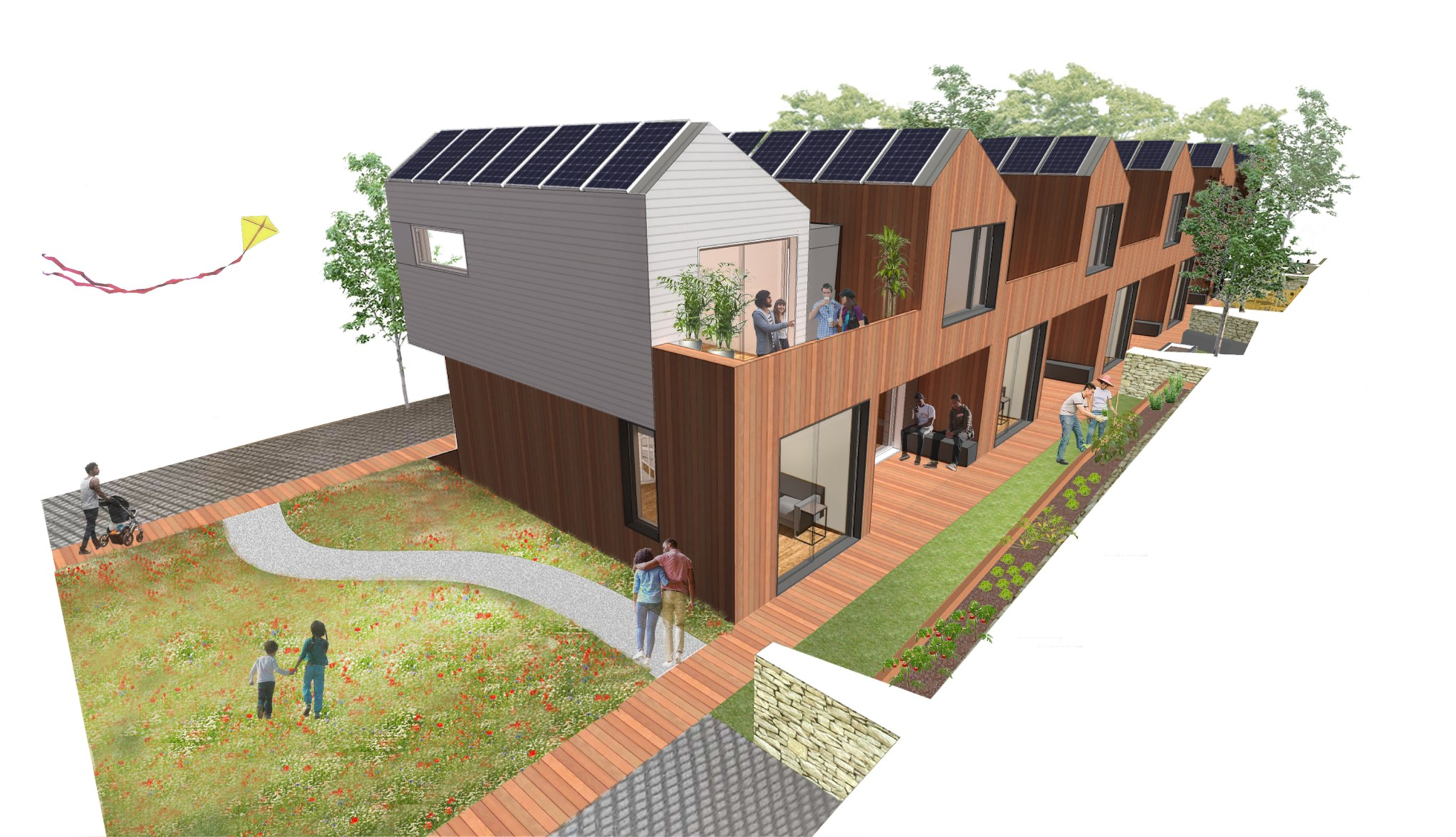 multifamily compact townhouse design rendering