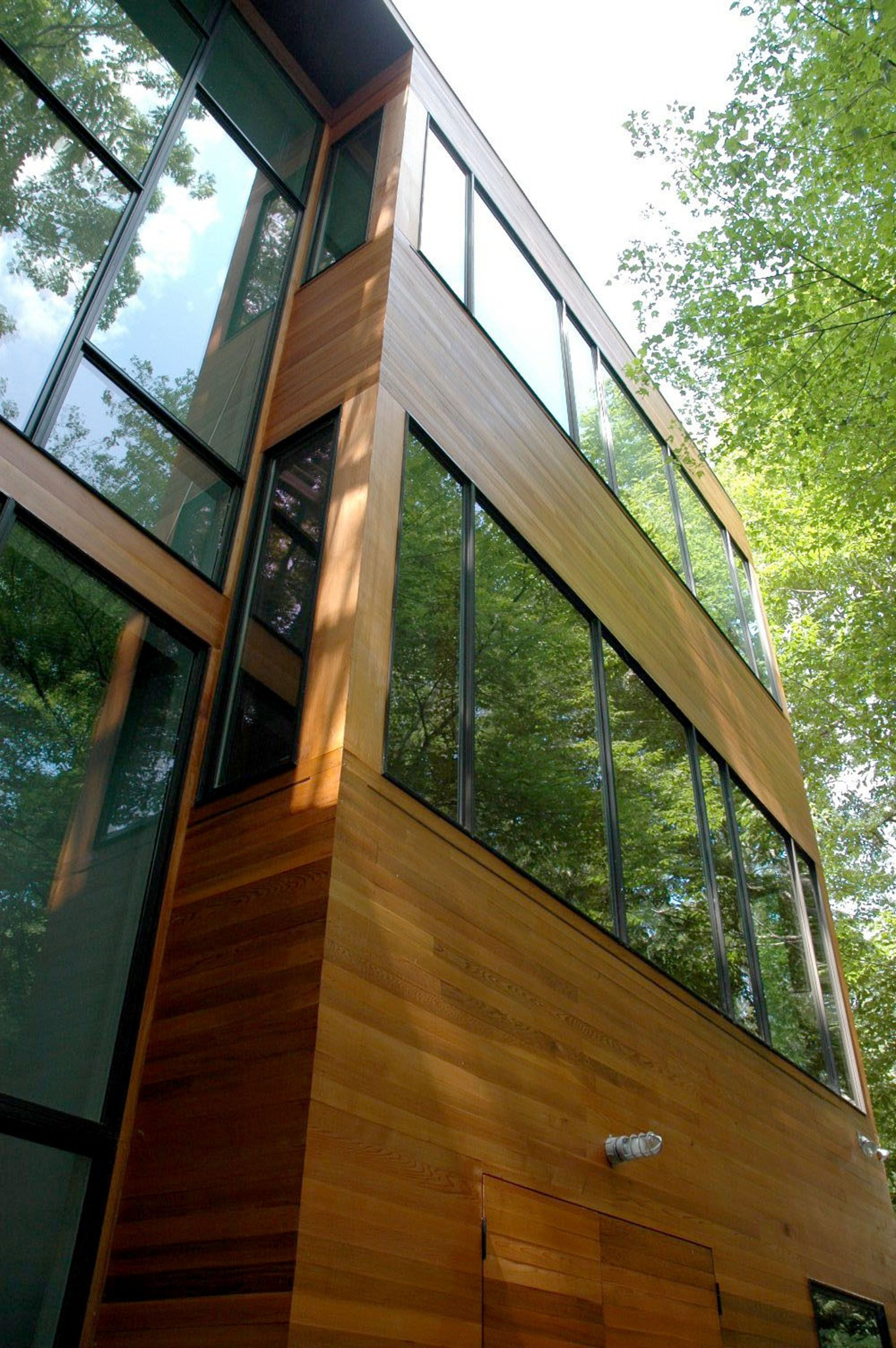 Modern lake house exterior