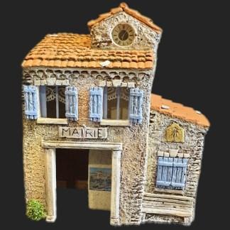 Maison de village mairie ouverte bleu – Atelier de Fanny – Santon – Santons – Décors de crèche – Aubagne – Provence – Crèche de Provence – Santon de provence.jpg